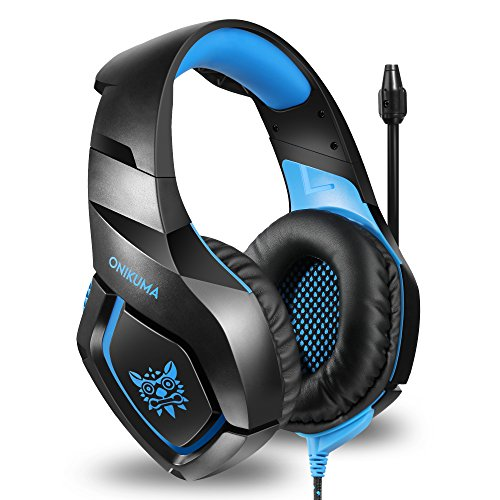 51qoq18F6gL - ONIKUMA Stereo Gaming Headset for PS4 Xbox One, Noise Cancelling Mic Over Ears Gaming Headphones with Microphone for Nintendo Switch PlayStation 4 Laptop Smartphones and PC