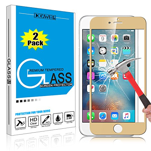 [2 PACK GOLD] iPhone 6 6s Plus Screen Protector, DONWELL Full Cover Mirror Effect Tempered Glass Screen Protector for iPhone 6 6s Plus [HD Clear] [ Scratch-Resistant] [Bubble Free]