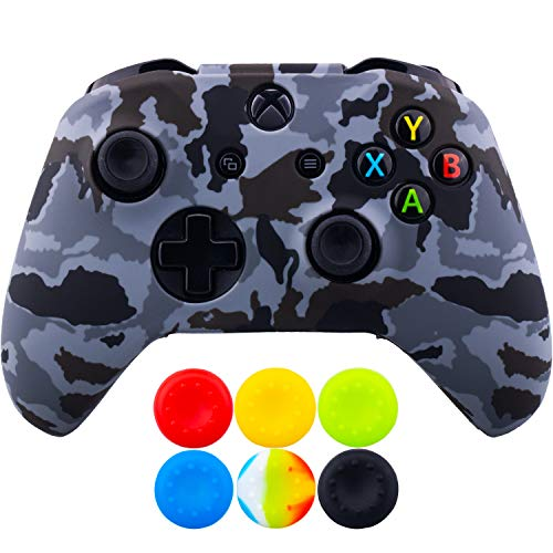 9CDeer 1 Piece of SiliconeTransfer Print Protective Cover Skin + 6 Thumb Grips for Xbox One/S/X Controller Camouflage Grey
