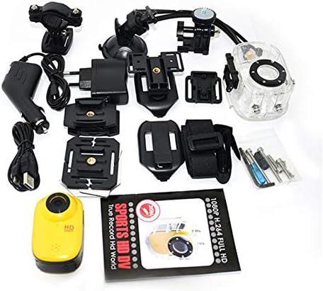 Liquidación Stock Mini Pantalla DVR Casco Cámara de Video Bicicleta Acción Deporte CAM Videocámara Impermeable - Amarillo
