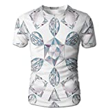Edgar John Heart and Triangle Cut Ornamental Chic Artsy Silver Diamonds Jewelry Men's Short Sleeve Tshirt XL