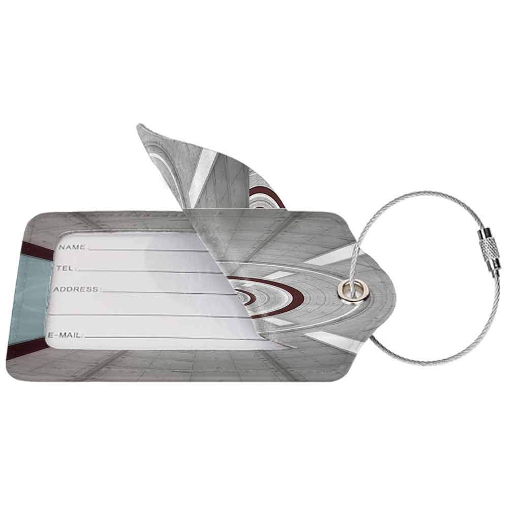 Multi-patterned luggage tag Apartment Decor Futuristic Corridor Inter with Lights Future Science Fiction Architecture Illustration Print Double-sided printing Grey W2.7 x L4.6