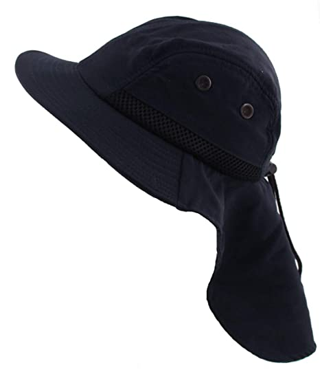 Adult and Kids Sizes JFH GROUP Outdoor Packable Wide Brim Sun Hat w//Neck Flap Adjustable Headband