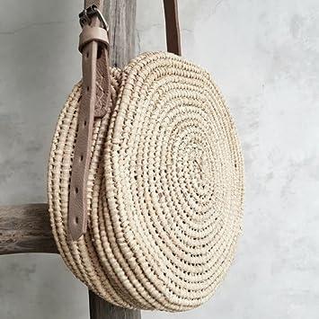 bolso cesto de rafia hecho a mano artesanalmente en marruecos, look boho chic, bohemio, decoracion, regalo chica boho,: Amazon.es: Hogar