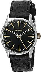 Nixon Men's A3772222-00 Sentry 38 Leather Analog Display Japanese Quartz Black Watch