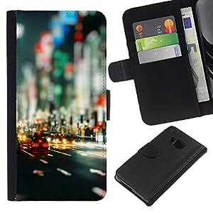 Protector de cuero de la PU de la cubierta del estilo de la carpeta del tirón BY RAYDREAMMM - HTC One M7 - Bokeh Calles