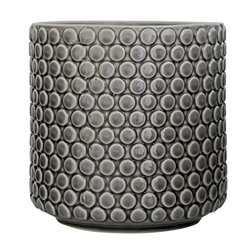 Bloomingville Home Accessories Stoneware Flower Pot with Polka Dots, Grey -