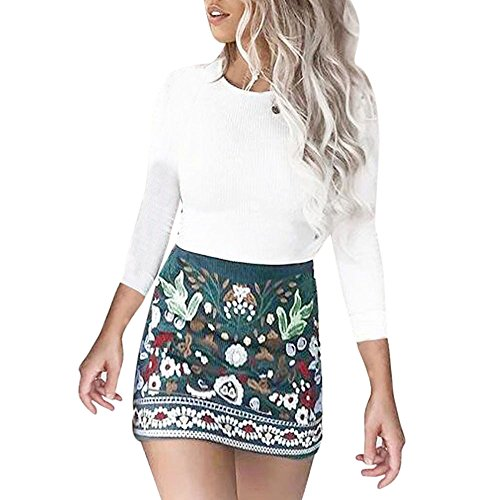 (Lookatool Skirts, Womens High Waist Printed Short A-Line Bodycon Mini Skirt (X-Large))
