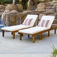 Set Of 2 Acacia Wood Chaise Lounge