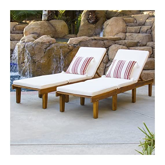 Best Choice Products Set Of 2 Outdoor Patio Poolside Acacia Wood Chaise Lounge Chairs w/ Cushions, Brown -  - patio-furniture, patio-chairs, patio - 51qorBA1kIL. SS570  -