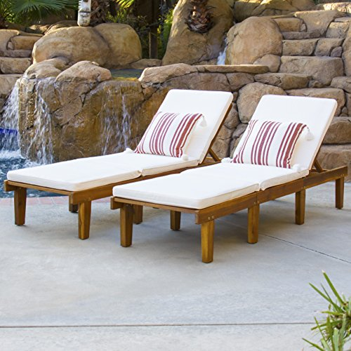 51qorBA1kIL - Best Choice Products Outdoor Patio Poolside Furniture Set Of 2 Acacia Wood Chaise Lounge