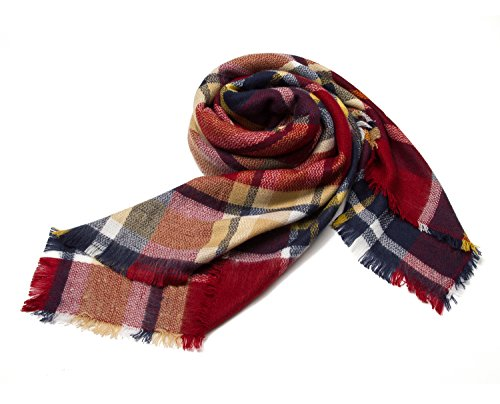 Large Tartan Fashion Women Scarf Lovely Best Gift Scarf Wrap Shawl Red ()