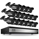 ZOSI 16CH Full 720P 1080N HDMI DVR Outdoor IR Cut Home CCTV Security Camera System 16 X Bullet Cameras Real Time Recording Mobile Phone Monitoring No Hard Drive