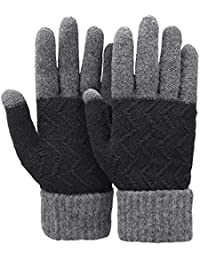 Unisex Winter Warm Knit Mittens Texting Touchscreen Gloves for Men and Women,3 colors