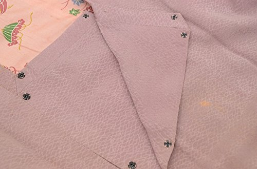 着物 コート 中古 リサイクル 正絹 道行衿 網目文様 裄63.5cm はおり ピンク系 裄Mサイズ ll0282c