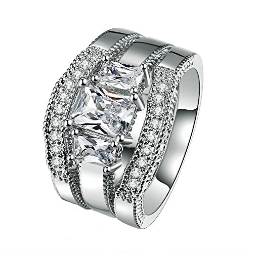 Double Fair Square-cut White Gold Plated Band Cubic Zirconia Antique Ring Set(Size:5-10) (8) ()
