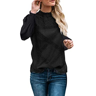 calidad confiable Últimas tendencias comprar Beikoard Ropa de mujer,Encaje para Mujer Patchwork Flare Volantes de Manga  Larga Linda Camisa Floral Blusa Top