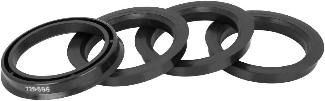 X AUTOHAUX 4pcs Plastic 72.6mm OD to 56.6mm ID Car Hub Centric Rings Wheel Bore Center Spacer Hub Rings Black