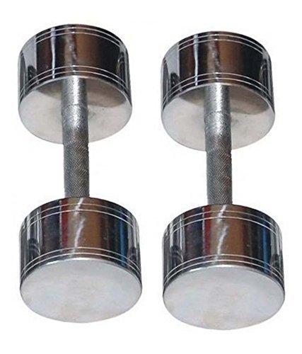 Skera K0911156_2 Steel Fixed Dumbbell, Men's 5kg, Pair (Chrome)