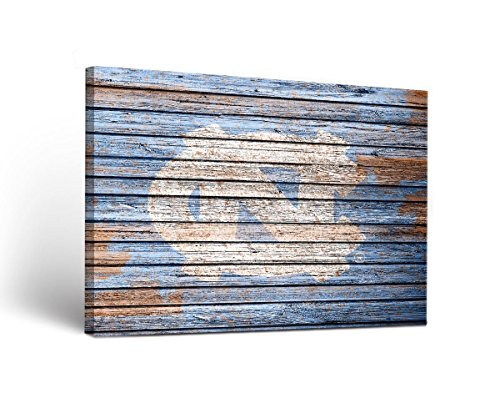 North Carolina UNC Tar Heels Canvas Wall Art Weathered Design (18x24) (Unc Tar Heels Wall)