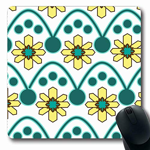 Pink Plaid Announcement - Ahawoso Mousepads for Computers Regal Blue Baby Yellow Teal Nordic Pattern Circles Announcement Pink Birthday Bright Classic Design Oblong Shape 7.9 x 9.5 Inches Non-Slip Oblong Gaming Mouse Pad