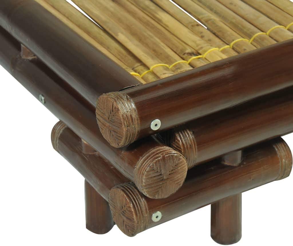 Die Bambusenden wurden mit Rattan umwickelt