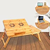 Adjustable Vented Foldable Laptop Notebook PC Table Desk Portable Tray wood Bamboo