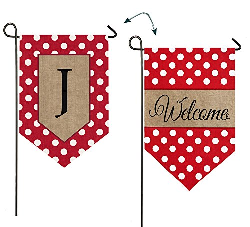 - Evergreen Enterprises 14B3477JFB Polka-Dot Welcome Monogram Garden Flag Letter: J