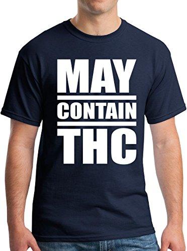 May Contain Alcohol T-Shirt THC Cannabis Pot Stoner Tee Navy M -