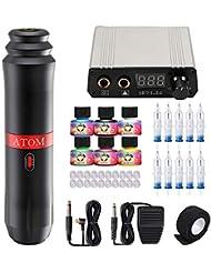 Dragonahwk Complete Tattoo Pen Kit Rotary Atom M1 Machine Power Supply 20Pcs Cartridges Needles Foot Pedal