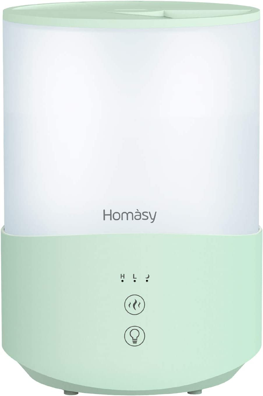 Homasy Cool Mist Humidifier Diffuser, 2.5L Essential Oil Diffuser, Top Fill Humidifier for Bedroom, Home and Office, Baby Humidifier with Adjustable Mist Output, Sleep Mode, Auto Shut Off, Olive green