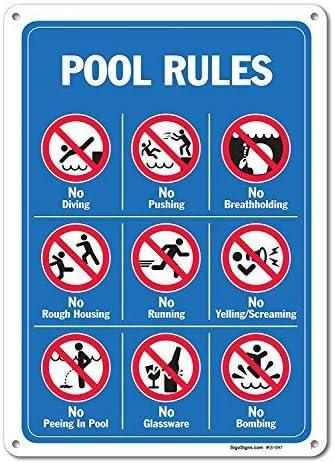 No Brand Pool Schilder – Pool Rules Schild mit Grafik, Aluminium Metallschild, groß