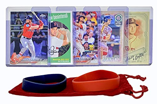(Andrew Benintendi Baseball Cards (5) ASSORTED Boston Red Sox Trading Card and Wristbands Gift Bundle)
