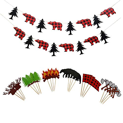 Price comparison product image Lumberjack Theme Banner Cake topper Party Supplies for Kid Birthday & Baby Shower Party Decoration (26 packs)