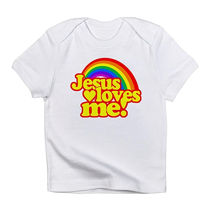 Amazon.com  CafePress - Jesus Loves Me Rainbow - Cute Infant T-Shirt ... 2ac44a5a5