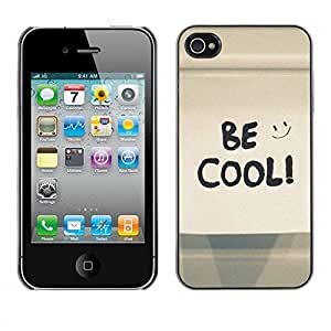 Carcasa Funda Prima Delgada SLIM Casa Case Bandera Cover Shell para Apple Iphone 4 / 4S / Business Style Be Cool Happy Smiley