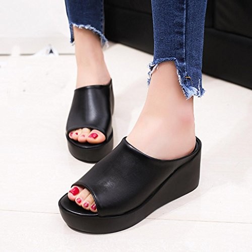 Elevin (tm) Dames Zomer Mode Peep Toe Hoge Platform Pumps Onderkant Slipper Sandaal Schoenen Zwart