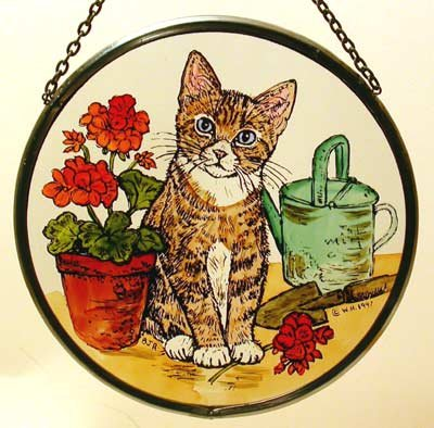 Decorative Hand Painted Stained Glass Window Sun Catcher/Roundel in a Kitten and Geraniums Design from Winged Heart