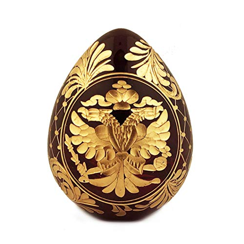 (Religious Burgundy Imperial Faberge Style Glass Egg - Double Headed Eagle and Russian Czar Nicholas II - 3 Inch tall x 2 1/2 Inch)