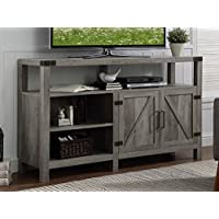 New 58 Inch Wide Barndoor Highboy Television Stand in Grey Wash Finish