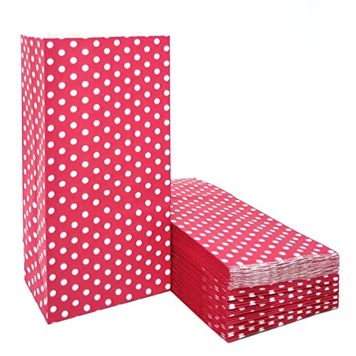 50 PCS Mini Red Paper Bags Lunch Polka dot Paper Gift Bags Great for Kid's Birthday Wedding Christmas Party Favor Bags Supplies by ADIDO EVA(3.5 x 2.3 x 7 in)]()