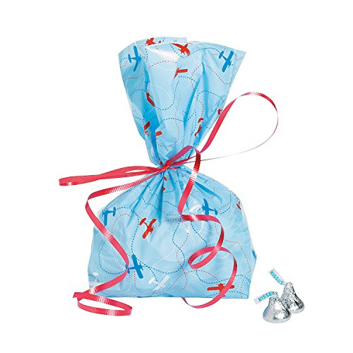 Fun Express - Up And Away Cello Bags for Birthday - Party Supplies - Bags - Cellophane Bags - Birthday - 12 -