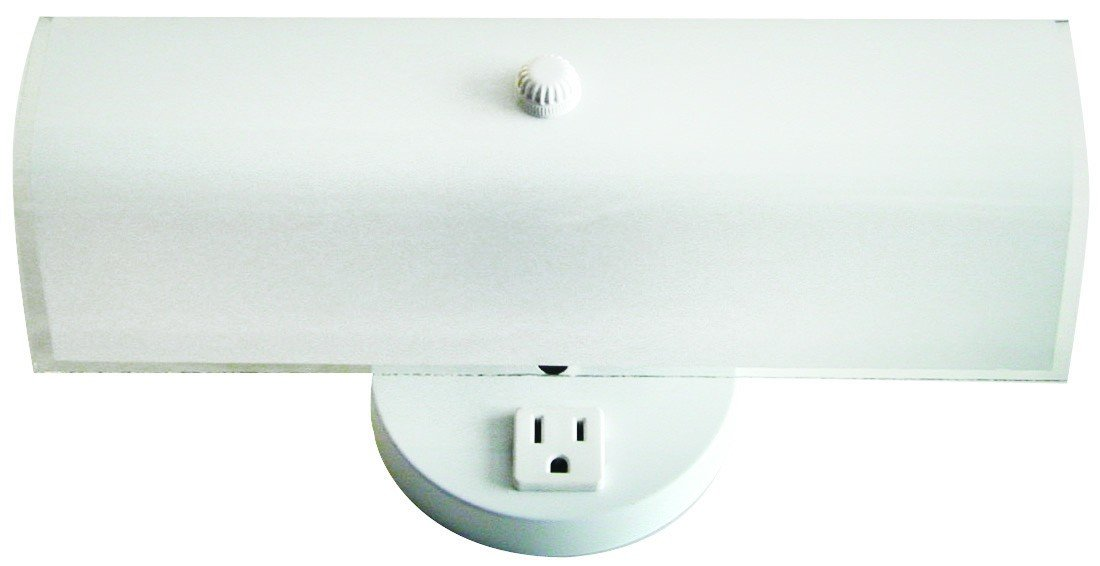 2 Bulb Bath Vanity Light Fixture Wall Mount with Plug-in Receptacle, White by WholesalePlumbing