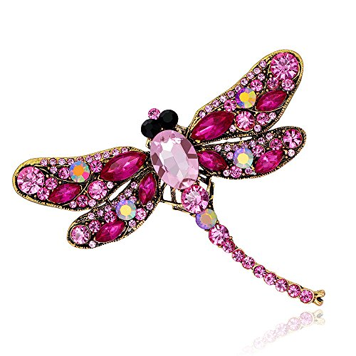 Reizteko Elegant Dragonfly Bird Brooch Pin Crystal Rhinestone Animal Party Jewelry (Rose) ()