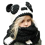 Baby Boys Girls Winter Warm Knitting BallHat+Scarf Sets (Black)