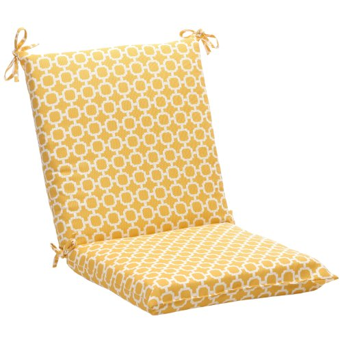 Pillow Perfect Indoor/Outdoor Yellow/White Geometric Square Chair Cushion (Patio Cushions Yellow Black And)