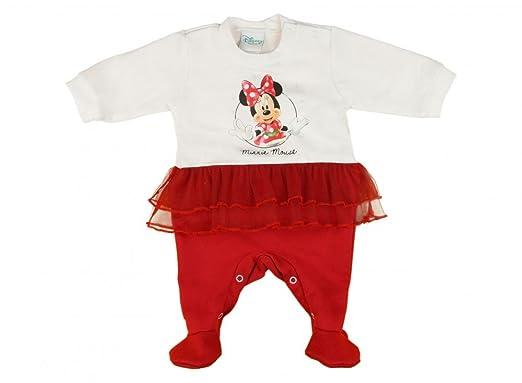 fecafe84f7 Mädchen Baby-Strampler mit Füßchen GEFÜTTERT, Minnie Mouse mit Tüll-Rock in  GRÖSSE