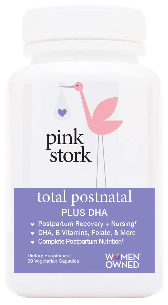 Pink Stork Total Postnatal + DHA -Recommended Nutrition for After Pregnancy -Contains Essential Nutrients for Breastfeeding Mom and Baby -60 Small Capsules by Pink Stork