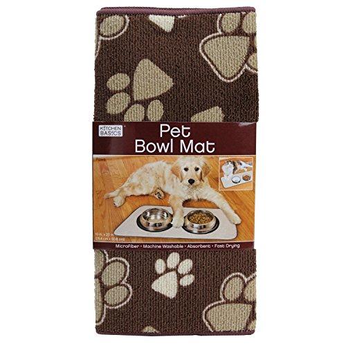 Kitchen Basics Microfiber Anti-Skid Pet Bowl Mat – Beige – 10″ x 20″