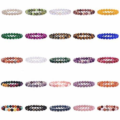 Justinstones Gem Semi Precious Gemstone 10mm Round Beads Stretch Bracelet 7 Unisex